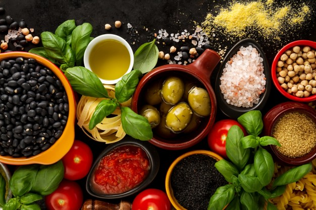 food background food concept with various tasty fresh ingredients for cooking italian food ingredients view from above with copy space 1220 1365
